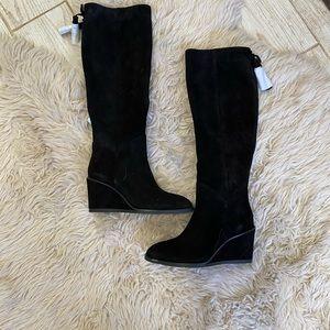Antonio Melani black suede wedge boots